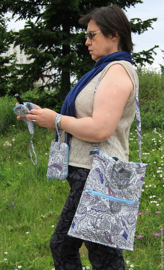 Купить сумку. Летняя повседневная льняная сумка с ремнём через плечо. На подкладке.