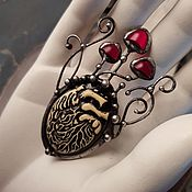 Украшения handmade. Livemaster - original item Heart Brooch in mushrooms (bro-018). Handmade.