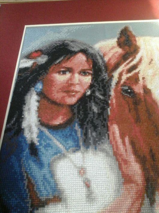 """Этно ручной работы. Ярмарка Мастеров - ручная работа. Купить вышитая картина """"Дочь вождя"""". Handmade. Комбинированный, лошадь, подрамник"""
