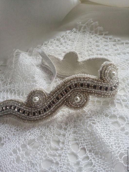 """Диадемы, обручи ручной работы. Ярмарка Мастеров - ручная работа. Купить Повязка на голову"""" Свадебная змейка"""". Handmade. Белый, свадьба"""