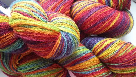 Вязание ручной работы. Ярмарка Мастеров - ручная работа. Купить Кауни Rainbow 8/2. Handmade. Комбинированный, зеленый, овечья шерсть