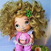 Тыквоголовка ручной работы. Ярмарка Мастеров - ручная работа Кукла из ткани кудрявая блондинка в розовом Интерьерная игрушка.. Handmade.
