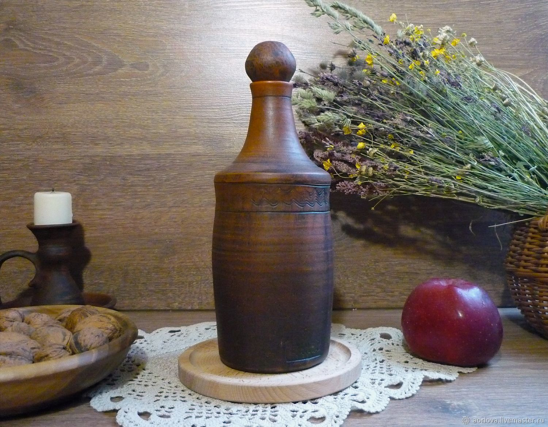 Графины, кувшины ручной работы. Ярмарка Мастеров - ручная работа. Купить Гончарная бутылка для масла (1литр) Янтарь. Handmade. Графин