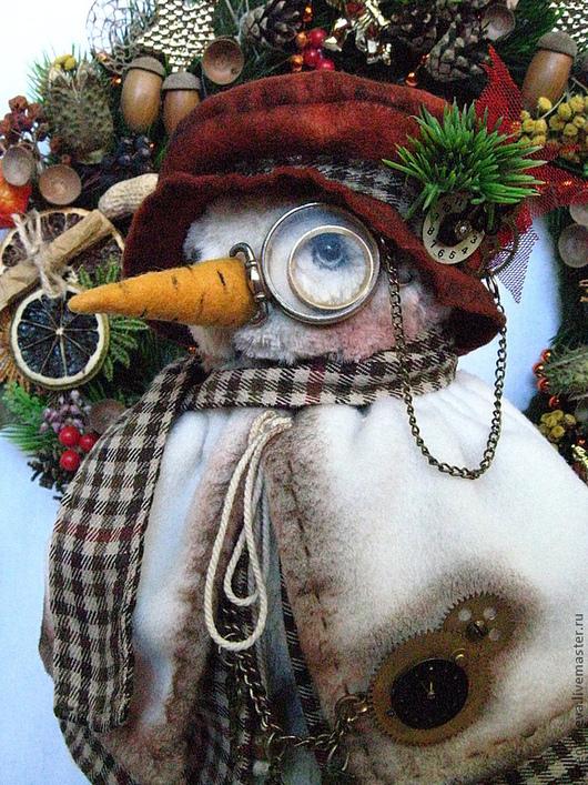 Новый год 2017 ручной работы. Ярмарка Мастеров - ручная работа. Купить Снеговик-Стимпанк ...)))). Handmade. Белый, снеговик-тедди