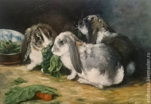 Животные ручной работы. Ярмарка Мастеров - ручная работа. Купить Вислоухие кролики. Handmade. Живопись, кролики, разноцветный, натюрморт
