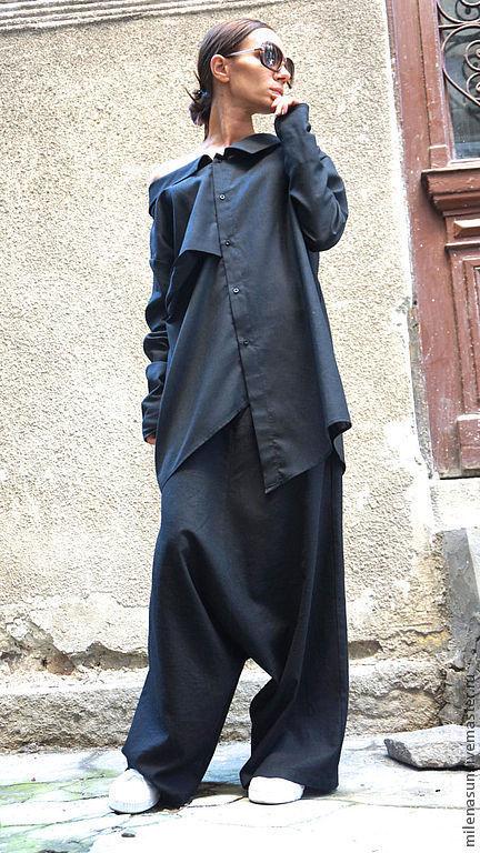 Брюки, штаны, черные брюки, льняные брюки, льняные штаны Ярмарка Мастеров
