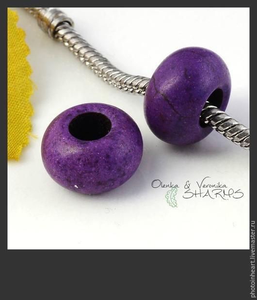 Для украшений ручной работы. Ярмарка Мастеров - ручная работа. Купить Шарм для браслета из натурального камня БИРЮЗА (ЛИЛОВАЯ). Handmade.