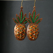 Украшения handmade. Livemaster - original item Large Copper Earrings Pineapple, Statement Earrings. Handmade.