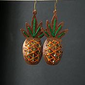 Серьги классические ручной работы. Ярмарка Мастеров - ручная работа Серьги из меди Pineapple. Handmade.