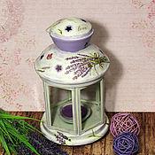 Для дома и интерьера handmade. Livemaster - original item Candle holder Lavender decoupage. Handmade.