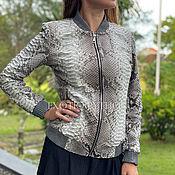 handmade. Livemaster - original item Women`s Python Leather Bomber Jacket. Handmade.