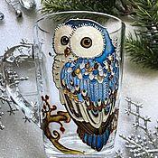 Посуда handmade. Livemaster - original item Glass mug with hand painted Owl. Handmade.