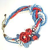 Украшения handmade. Livemaster - original item Jewelry set: Marine Sketch Necklace Brooch with flowers Red Coral. Handmade.