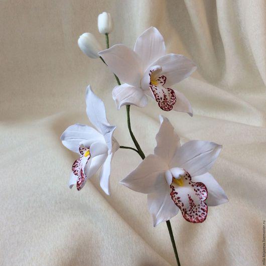 Цветы ручной работы. Ярмарка Мастеров - ручная работа. Купить Ветка орхидеи цимбидиум. Handmade. Букет цветов, композиция из цветов