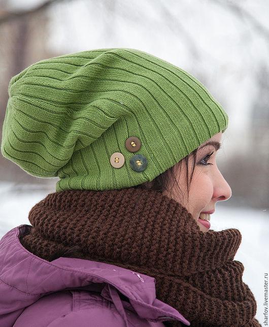 шапка салатовая, шапка модная, шапка чулок, шапка зеленая, шапка трикотажная