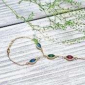 Украшения handmade. Livemaster - original item Gold-plated slave bracelet with multi-colored crystals. Handmade.
