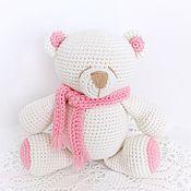 Куклы и игрушки handmade. Livemaster - original item Polar bear with pink scarf. Handmade.