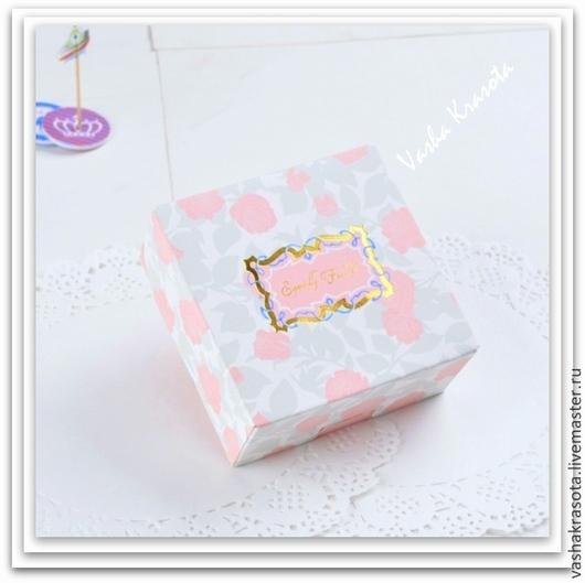 """Упаковка ручной работы. Ярмарка Мастеров - ручная работа. Купить Коробка """"Розовые Розы"""" 11,5х11,5х5 см. Handmade."""
