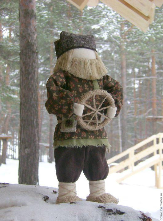 """Народные куклы ручной работы. Ярмарка Мастеров - ручная работа. Купить кукла """"Спиридон-Солнцеворот"""". Handmade. Коричневый, руль"""
