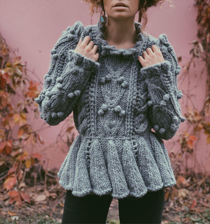 Свитер женский вязаный - вязаная кофта с баской - нарядный свитер, Свитеры, Киев, Фото №1