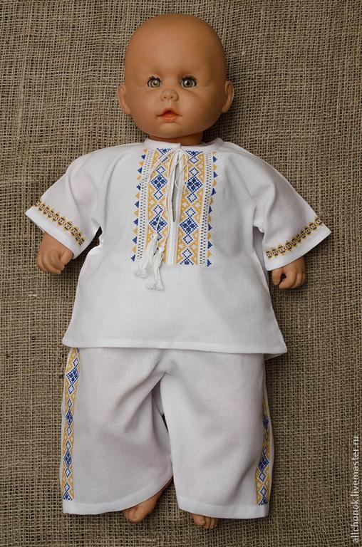 """Для новорожденных, ручной работы. Ярмарка Мастеров - ручная работа. Купить Вышитый костюм для мальчика """"Патриотический"""". Handmade. Разноцветный, синий"""