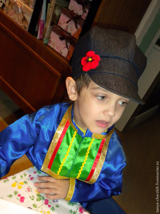 Детские карнавальные костюмы ручной работы. Ярмарка Мастеров - ручная работа. Купить Картуз с маком, русский головной убор. Handmade.