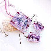 Украшения handmade. Livemaster - original item Set of glass ornaments. fusing Glass. Purple mother of pearl. Handmade.
