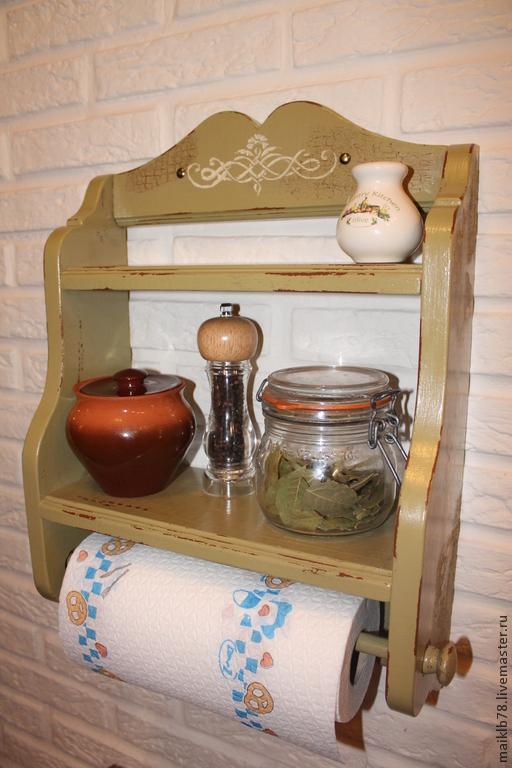 Мебель ручной работы. Ярмарка Мастеров - ручная работа. Купить Полка с полотенцедержателем  «Прованс Олива». Handmade. Оливковый, мебель для дачи