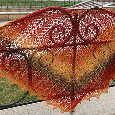 Аксессуары ручной работы. Ярмарка Мастеров - ручная работа Шаль вязаная Рыжая осень. Handmade.
