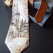 Аксессуары handmade. Livemaster - original item Tie with hand-painted