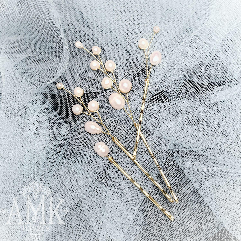 Small hair pins, set of hair pins, pearls hair pins, bobby pins, Украшения в прическу, Раменское,  Фото №1