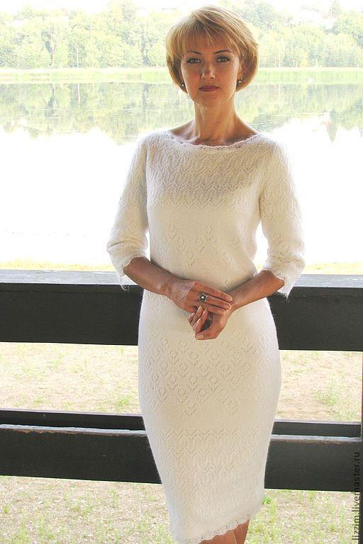 """Платья ручной работы. Ярмарка Мастеров - ручная работа. Купить Вязаное платье """"Изабелла"""". Handmade. Белый, платье по фигуре"""
