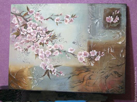 """Картины цветов ручной работы. Ярмарка Мастеров - ручная работа. Купить панно """"Яблоневый цвет"""". Handmade. Разноцветный, интерьерная картина"""