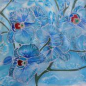 Аксессуары ручной работы. Ярмарка Мастеров - ручная работа Платок шелковый батик Орхидея 3 бирюзовый. Handmade.