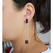 Украшения handmade. Livemaster - original item Black earrings chains. Handmade.