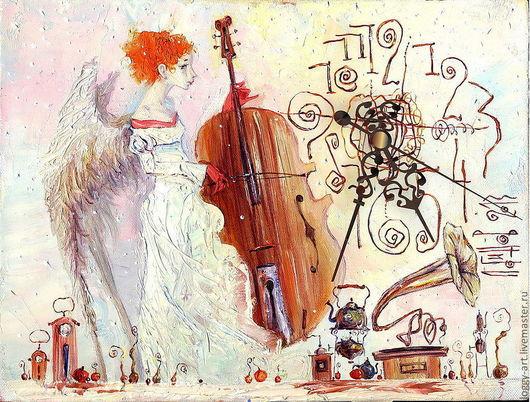 """Символизм ручной работы. Ярмарка Мастеров - ручная работа. Купить """"Хранительница времени"""". Handmade. Бежевый, ретро, ангел, часы настенные"""