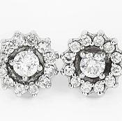 Украшения handmade. Livemaster - original item 14K Vintage Diamond Stud Earrings, 14K Antique Diamond Halo Stud Earri. Handmade.