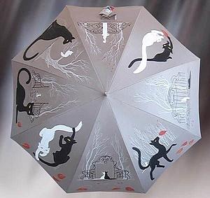 Зонты ручной работы. Ярмарка Мастеров - ручная работа. Купить Графический котозонт. Handmade. Кошки, графика, белая кошка