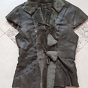 Одежда handmade. Livemaster - original item Leather fur vest Sheepskin.Khaki. Handmade.
