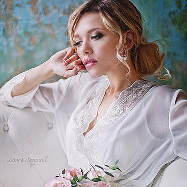 Одежда ручной работы. Ярмарка Мастеров - ручная работа Пеньюар и сорочка - белый длинный комплект с кружевом для невесты. Handmade.