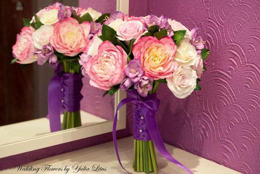 Свадебные цветы ручной работы. Ярмарка Мастеров - ручная работа. Купить Букет невесты с пионами. Handmade. Букет невесты, фиолетовый