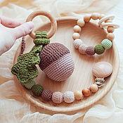 Работы для детей, handmade. Livemaster - original item Baby box: pacifier holder, rodent, acorn rattle. Handmade.