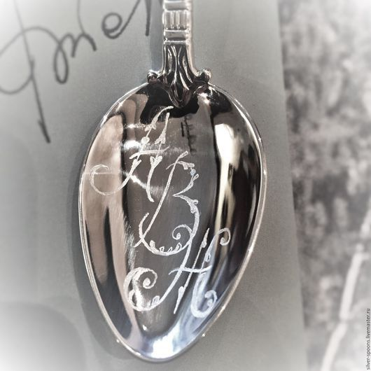 Подарки на свадьбу ручной работы. Ярмарка Мастеров - ручная работа. Купить Серебряная чайная ложка АМПИР гладкая с вензелем АВЖ.. Handmade.