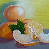 Картины и панно ручной работы. Ярмарка Мастеров - ручная работа Натюрморт с мандаринами. Handmade.