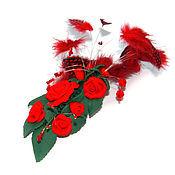 Украшения ручной работы. Ярмарка Мастеров - ручная работа Заколка с красными перьями. Handmade.