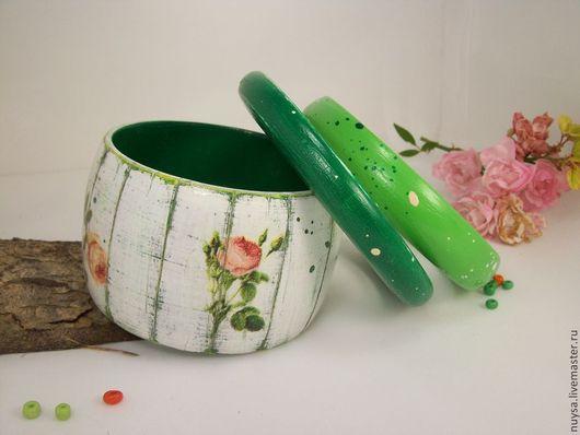 Деревянные украшения Браслеты комплект `Шебби Декупаж бижутерия Браслеты для влюбленных в романтичный и женственный шебби стиль.