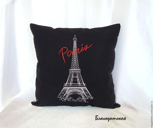Текстиль, ковры ручной работы. Ярмарка Мастеров - ручная работа. Купить Подушка Париж. Handmade. Черный, подушка с вышивкой, Франция