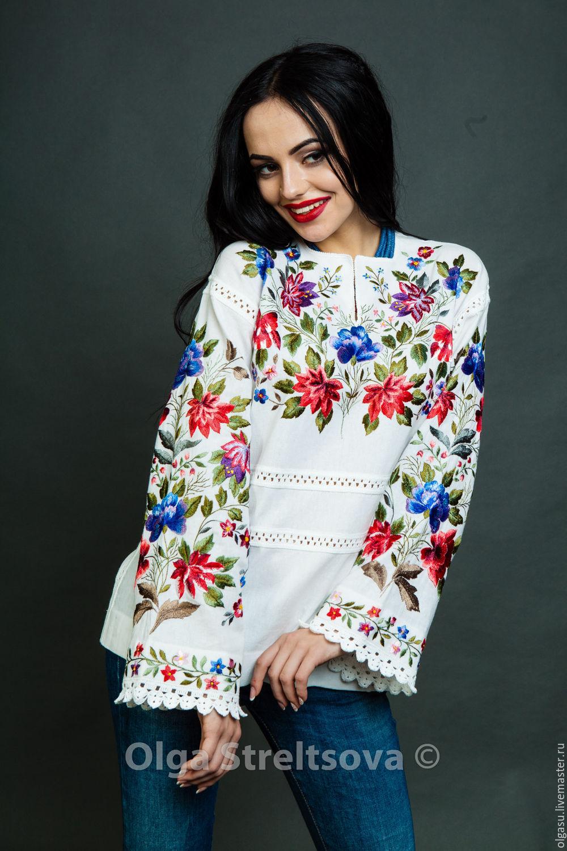 Вышитая белая блуза Цветочная мелодия с кружевом, Блузки, Винница, Фото №1