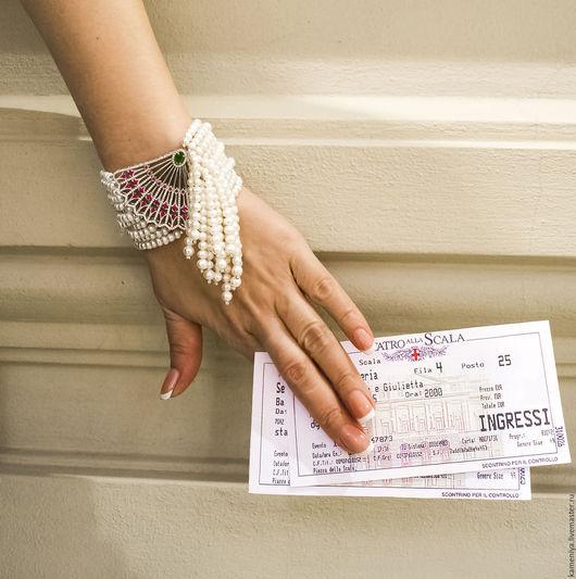 Браслеты ручной работы. Ярмарка Мастеров - ручная работа. Купить Жемчужный браслет с кисточкой LA TRAVIATA. Handmade. Белый