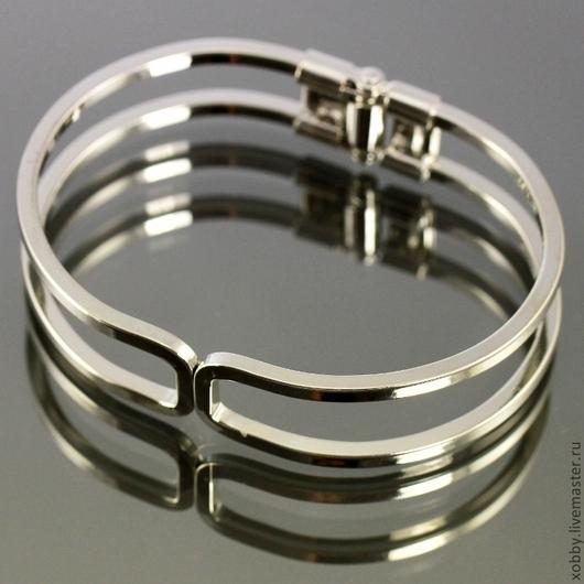 Металлическая основа для браслета раскрывающаяся за счет шарнира с покрытием имитирующим серебро